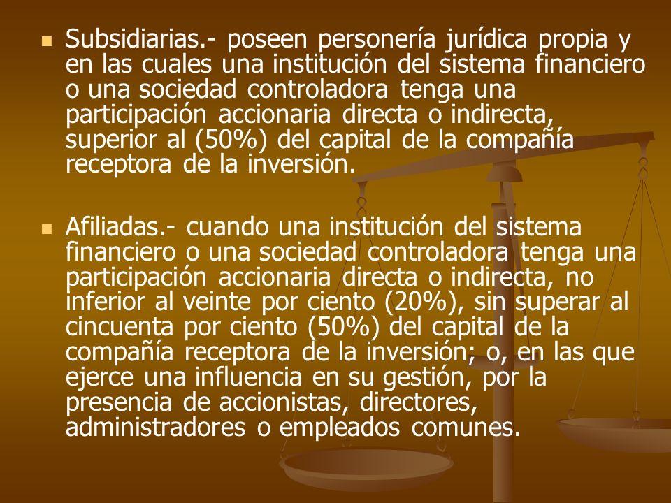 Subsidiarias.- poseen personería jurídica propia y en las cuales una institución del sistema financiero o una sociedad controladora tenga una particip
