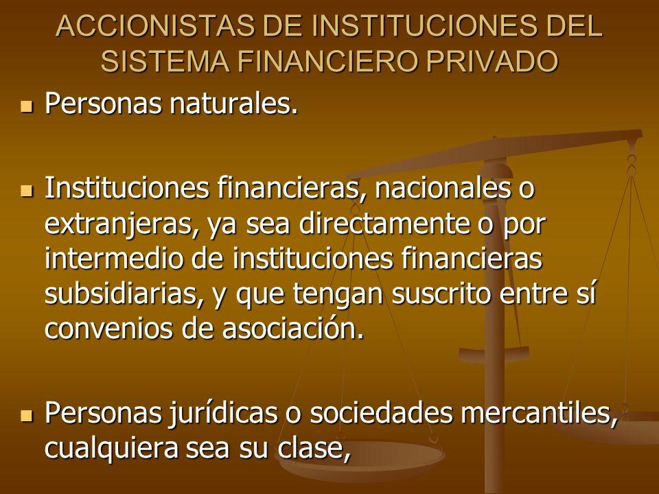 ACCIONISTAS DE INSTITUCIONES DEL SISTEMA FINANCIERO PRIVADO Personas naturales. Personas naturales. Instituciones financieras, nacionales o extranjera