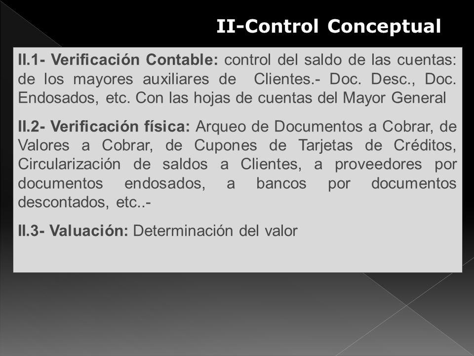 II-Control Conceptual S II.1- Verificación Contable: control del saldo de las cuentas: de los mayores auxiliares de Clientes.- Doc. Desc., Doc. Endosa