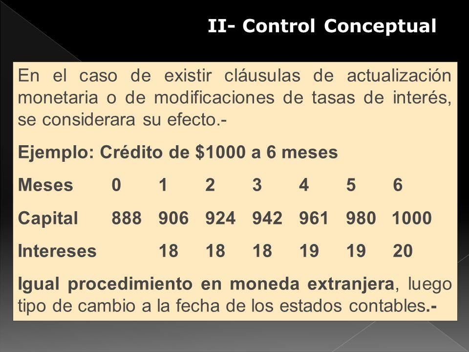 II- Control Conceptual En el caso de existir cláusulas de actualización monetaria o de modificaciones de tasas de interés, se considerara su efecto.-
