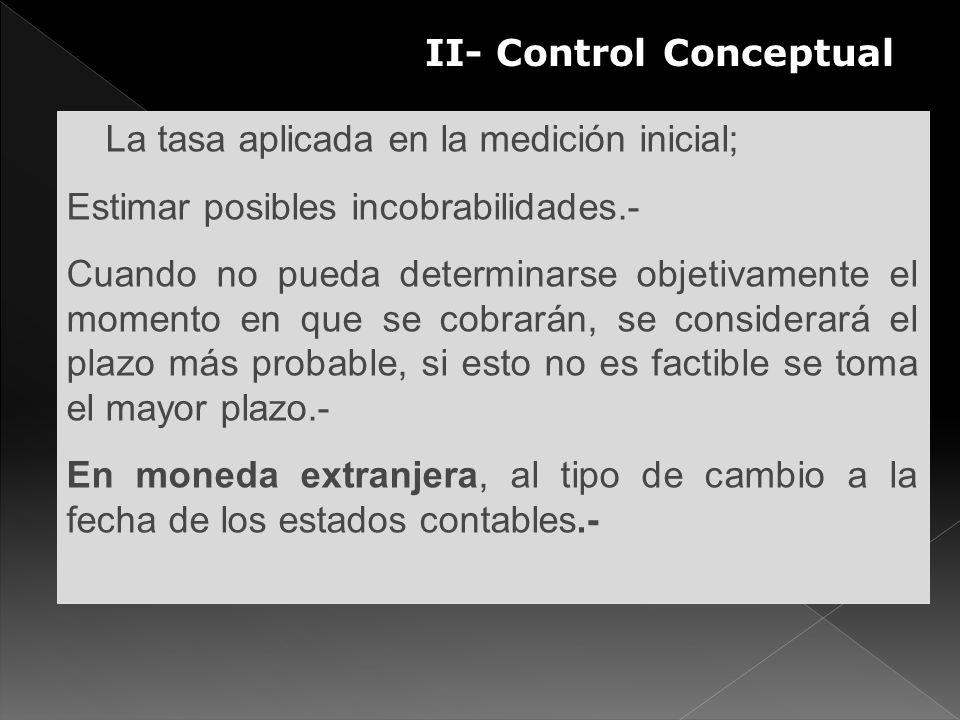 II- Control Conceptual S La tasa aplicada en la medición inicial; Estimar posibles incobrabilidades.- Cuando no pueda determinarse objetivamente el mo