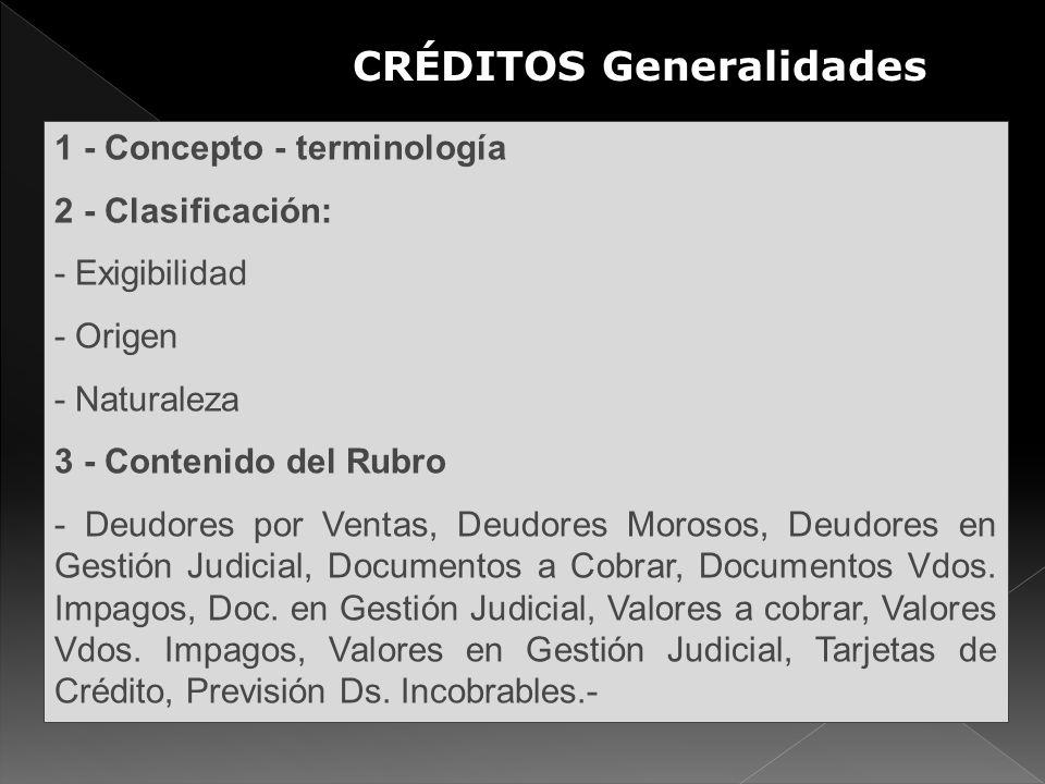 1 - Concepto - terminología 2 - Clasificación: - Exigibilidad - Origen - Naturaleza 3 - Contenido del Rubro - Deudores por Ventas, Deudores Morosos, D
