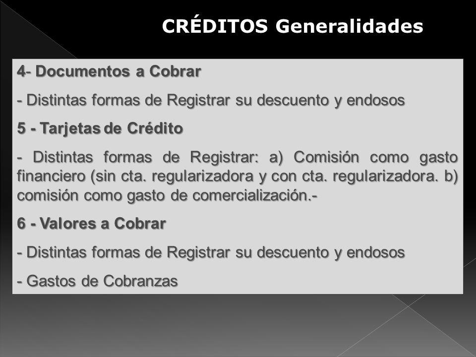4- Documentos a Cobrar - Distintas formas de Registrar su descuento y endosos 5 - Tarjetas de Crédito - Distintas formas de Registrar: a) Comisión com