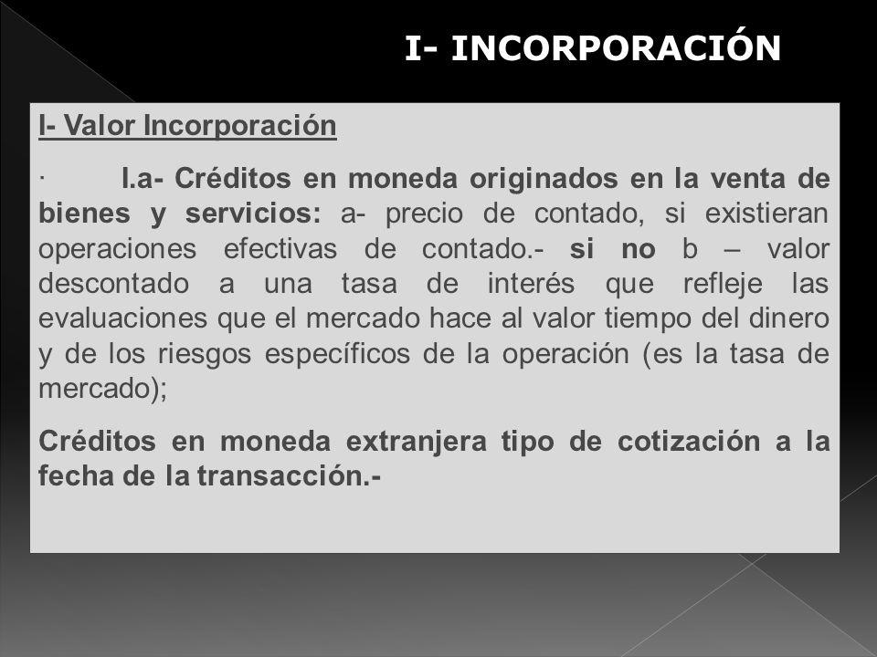 I- Valor Incorporación · I.a- Créditos en moneda originados en la venta de bienes y servicios: a- precio de contado, si existieran operaciones efectiv
