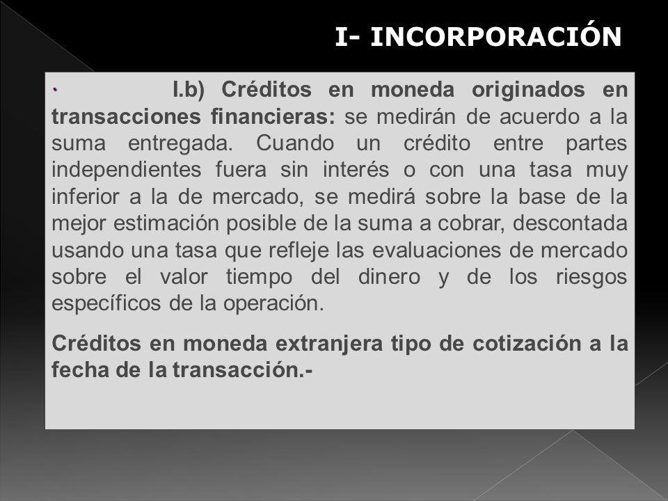 S · · I.b) Créditos en moneda originados en transacciones financieras: se medirán de acuerdo a la suma entregada. Cuando un crédito entre partes indep