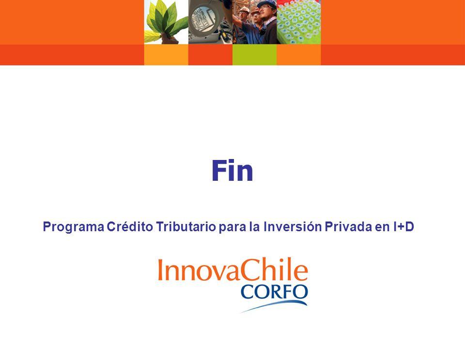 Fin Programa Crédito Tributario para la Inversión Privada en I+D