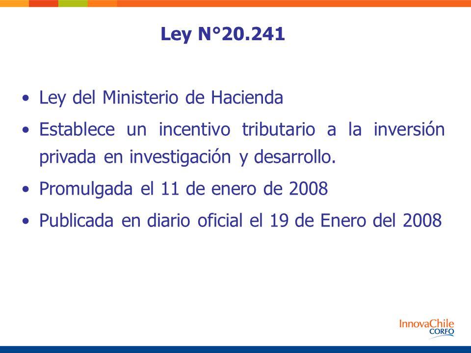 Ley N°20.241 Ley del Ministerio de Hacienda Establece un incentivo tributario a la inversión privada en investigación y desarrollo. Promulgada el 11 d