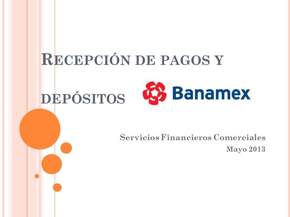 R ECEPCIÓN DE PAGOS Y DEPÓSITOS Servicios Financieros Comerciales Mayo 2013