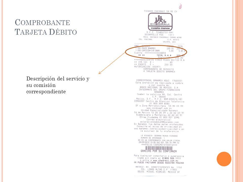 C OMPROBANTE T ARJETA D ÉBITO Descripción del servicio y su comisión correspondiente