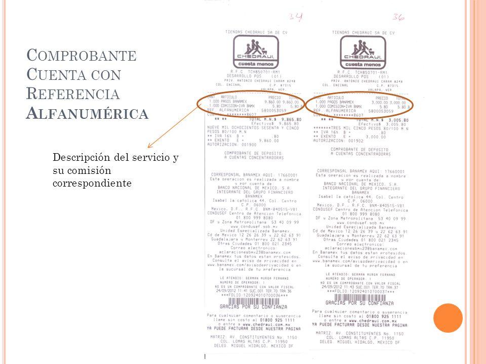 C OMPROBANTE C UENTA CON R EFERENCIA A LFANUMÉRICA Descripción del servicio y su comisión correspondiente
