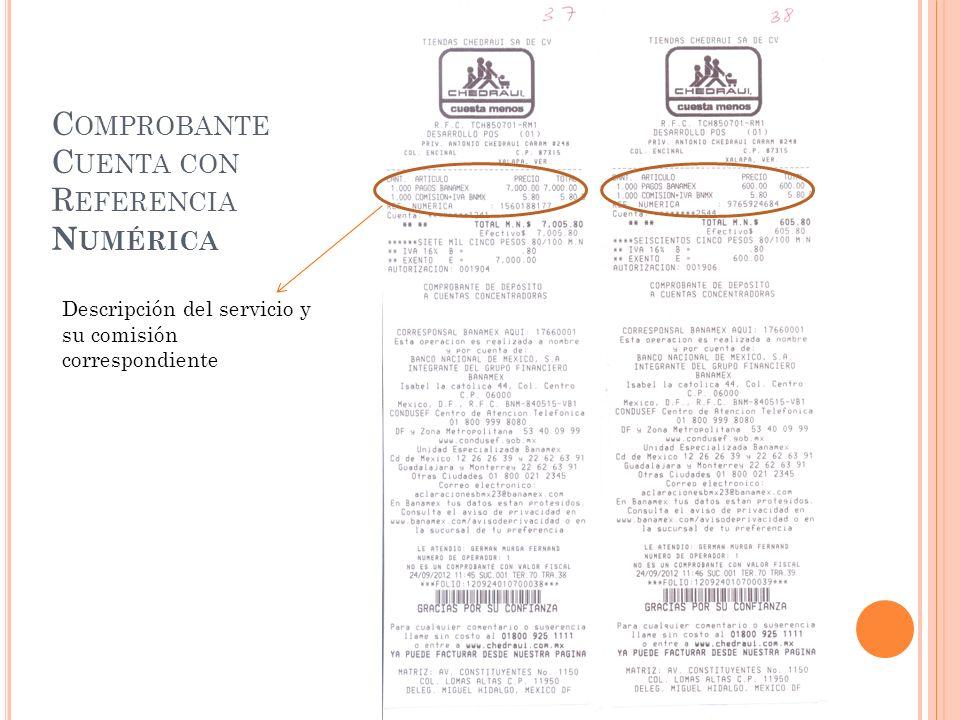 C OMPROBANTE C UENTA CON R EFERENCIA N UMÉRICA Descripción del servicio y su comisión correspondiente