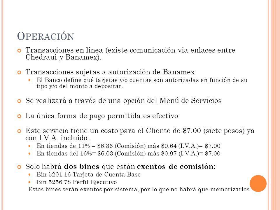 O PERACIÓN Transacciones en línea (existe comunicación vía enlaces entre Chedraui y Banamex). Transacciones sujetas a autorización de Banamex El Banco