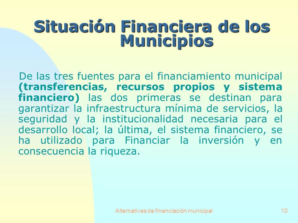 Alternativas de financiación municipal10 SituaciónFinanciera de los Municipios Situación Financiera de los Municipios De las tres fuentes para el fina