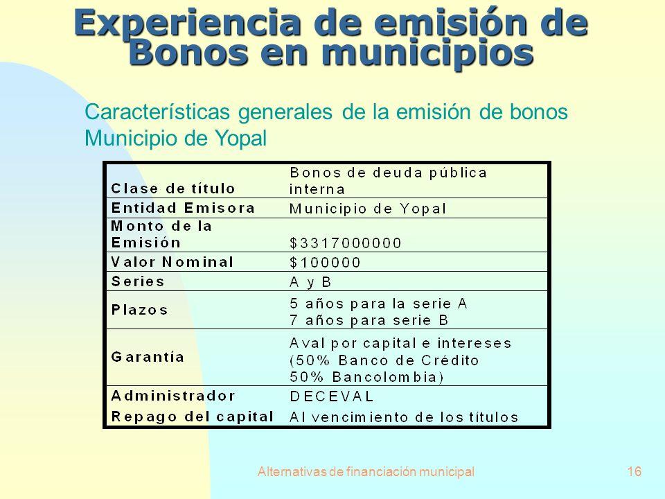Alternativas de financiación municipal16 Experiencia de emisión de Bonos en municipios Características generales de la emisión de bonos Municipio de Y