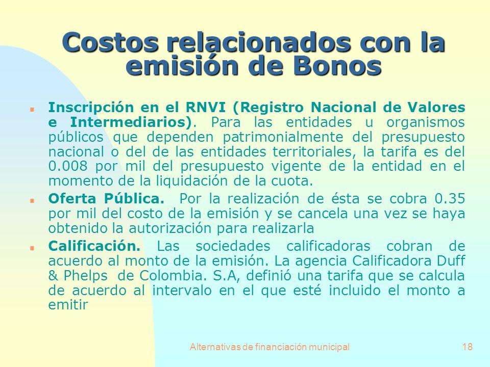 Alternativas de financiación municipal18 Costosrelacionados con la emisión de Bonos Costos relacionados con la emisión de Bonos n Inscripción en el RN