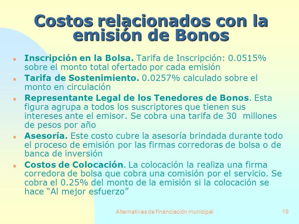 Alternativas de financiación municipal19 n Inscripción en la Bolsa. Tarifa de Inscripción: 0.0515% sobre el monto total ofertado por cada emisión n Ta