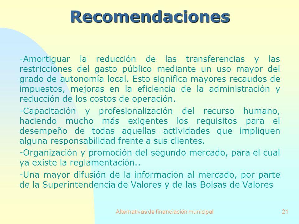 Alternativas de financiación municipal21Recomendaciones -Amortiguar la reducción de las transferencias y las restricciones del gasto público mediante