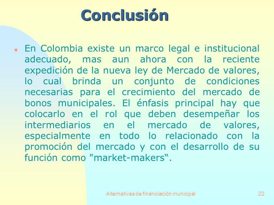 Alternativas de financiación municipal22Conclusión n En Colombia existe un marco legal e institucional adecuado, mas aun ahora con la reciente expedic