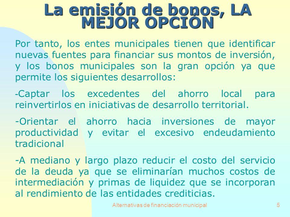 Alternativas de financiación municipal5 La emisión de bonos, LA MEJOR OPCIÓN Por tanto, los entes municipales tienen que identificar nuevas fuentes pa