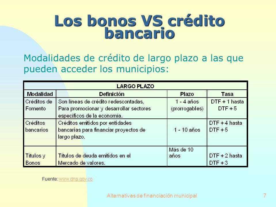 Alternativas de financiación municipal7 Los bonos VS crédito bancario Modalidades de crédito de largo plazo a las que pueden acceder los municipios: F