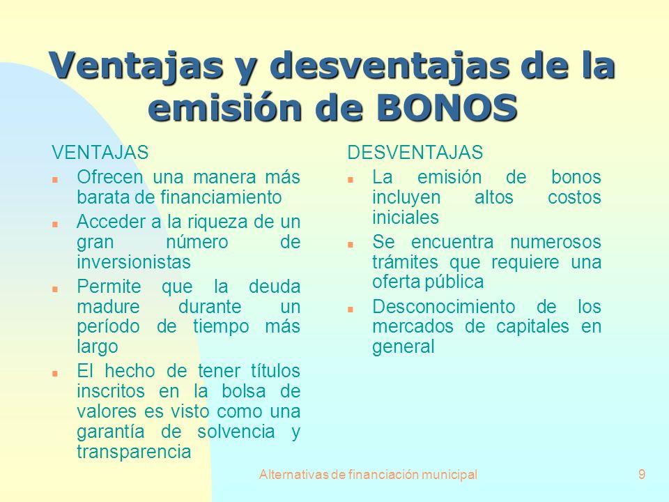 Alternativas de financiación municipal9 VENTAJAS n Ofrecen una manera más barata de financiamiento n Acceder a la riqueza de un gran número de inversi
