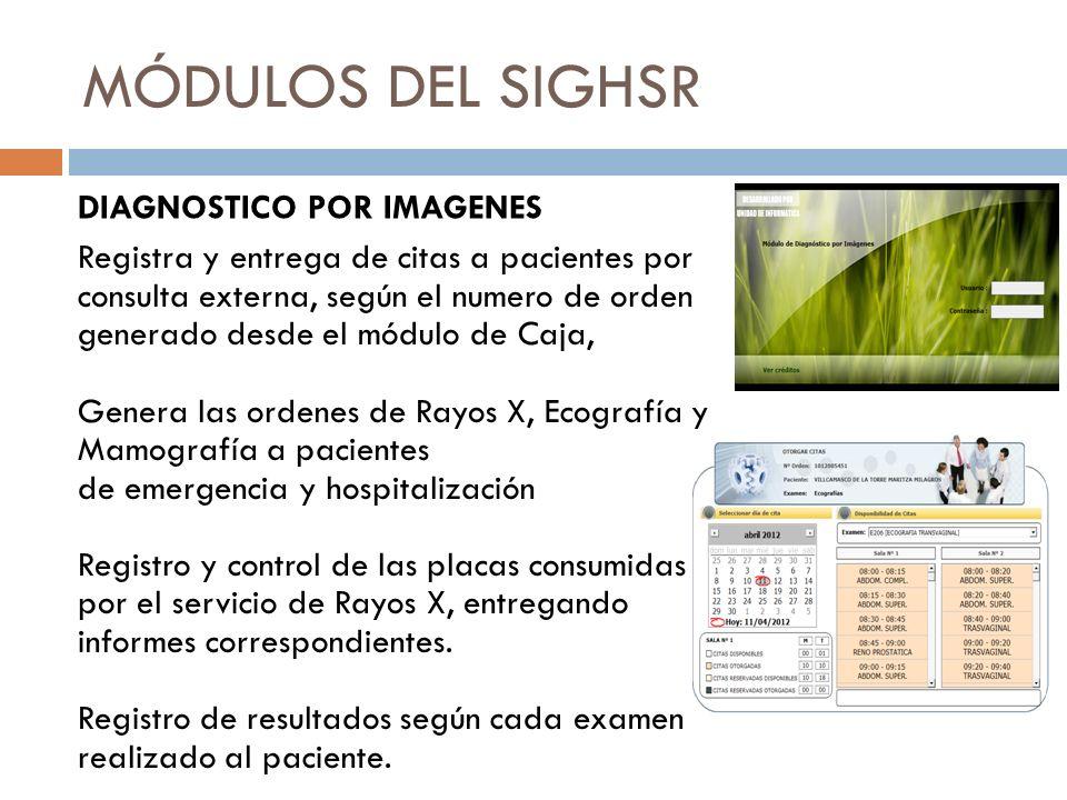 MÓDULOS DEL SIGHSR Registra y entrega de citas a pacientes por consulta externa, según el numero de orden generado desde el módulo de Caja, Genera las