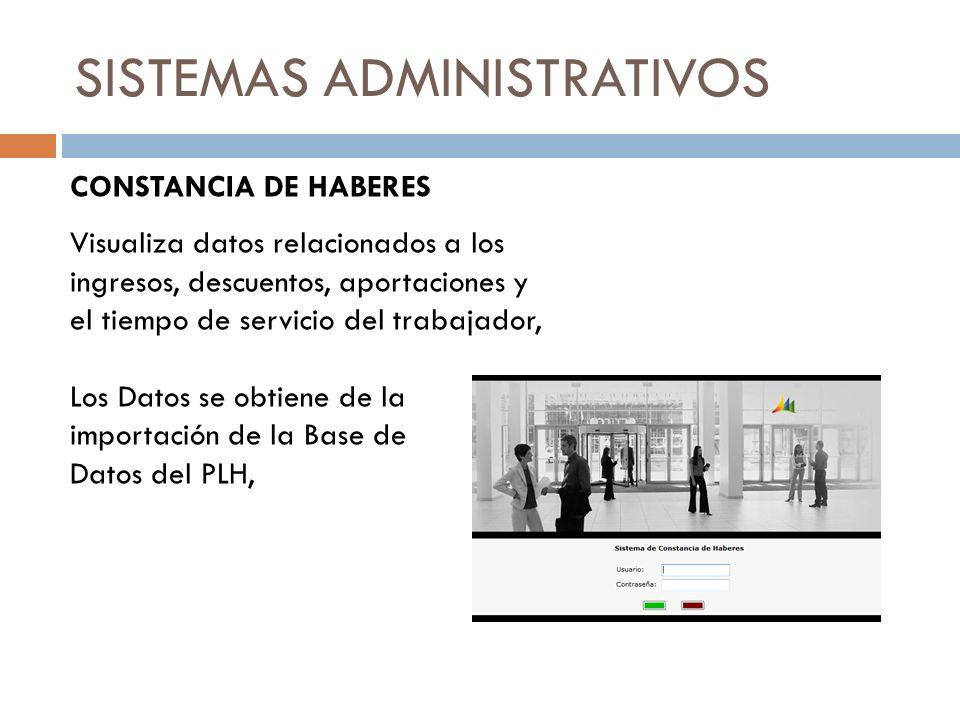 SISTEMAS ADMINISTRATIVOS CONSTANCIA DE HABERES Visualiza datos relacionados a los ingresos, descuentos, aportaciones y el tiempo de servicio del traba