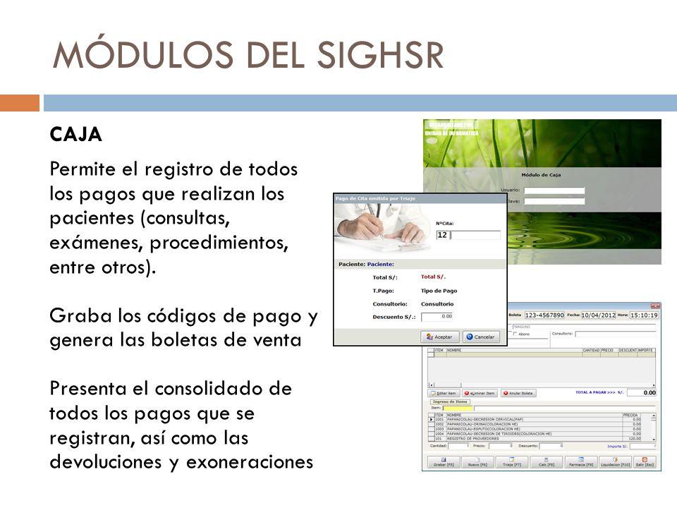 MÓDULOS DEL SIGHSR HISTORIAS CLÍNICAS Permite el registro inicial (pre filiación) con los datos personales del paciente Asigna un número de H.C.