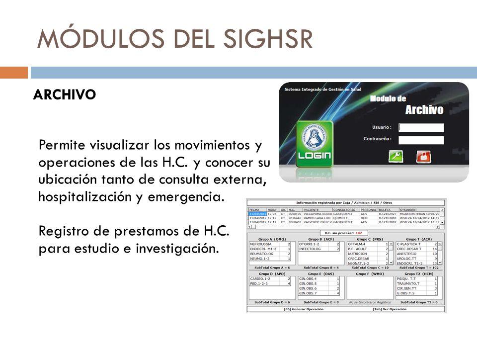 MÓDULOS DEL SIGHSR ARCHIVO Permite visualizar los movimientos y operaciones de las H.C. y conocer su ubicación tanto de consulta externa, hospitalizac