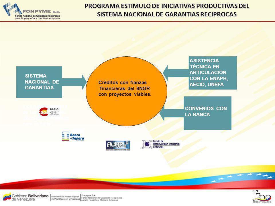 13 PROGRAMA ESTIMULO DE INICIATIVAS PRODUCTIVAS DEL SISTEMA NACIONAL DE GARANTIAS RECIPROCAS ó SISTEMA NACIONAL DE GARANTÍAS Créditos con fianzas fina