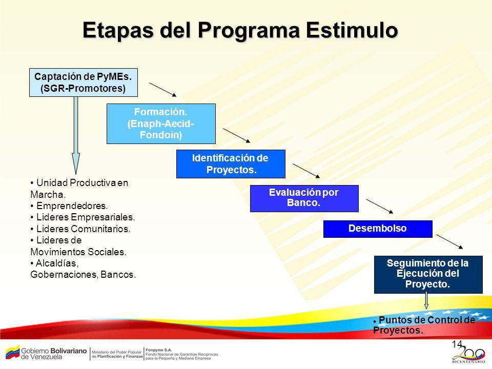 14 Etapas del Programa Estimulo Puntos de Control de Proyectos. Captación de PyMEs. (SGR-Promotores) Formación. (Enaph-Aecid- Fondoin) Identificación