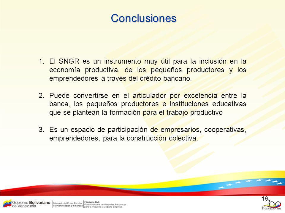 19 Conclusiones 1.El SNGR es un instrumento muy útil para la inclusión en la economía productiva, de los pequeños productores y los emprendedores a tr