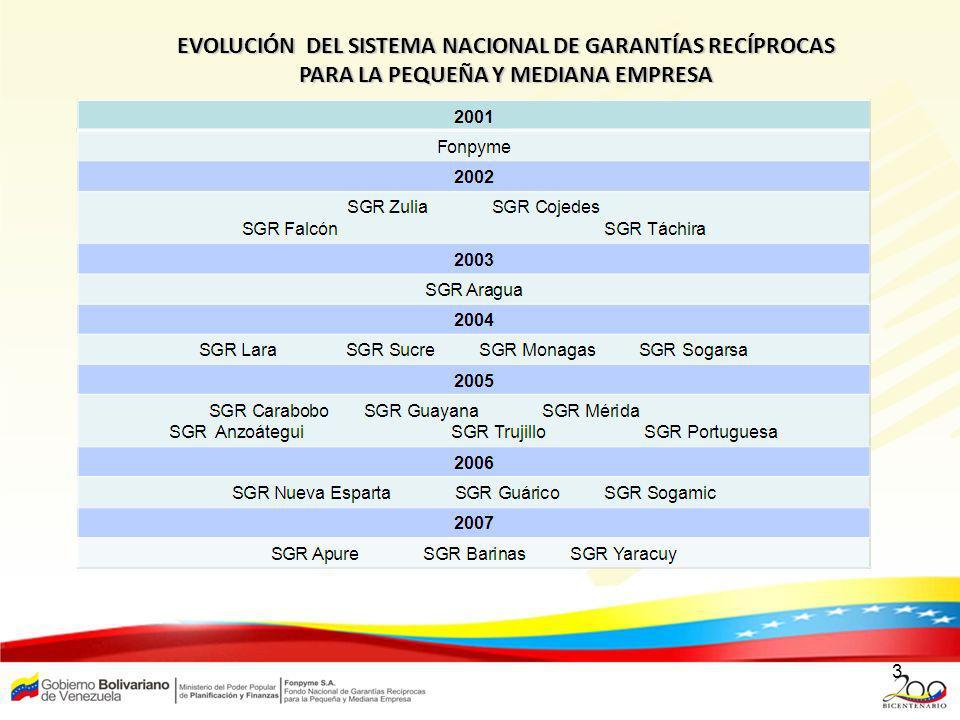 3 EVOLUCIÓN DEL SISTEMA NACIONAL DE GARANTÍAS RECÍPROCAS PARA LA PEQUEÑA Y MEDIANA EMPRESA