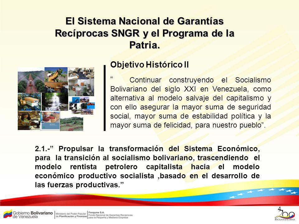 4 Objetivo Histórico II Continuar construyendo el Socialismo Bolivariano del siglo XXI en Venezuela, como alternativa al modelo salvaje del capitalism