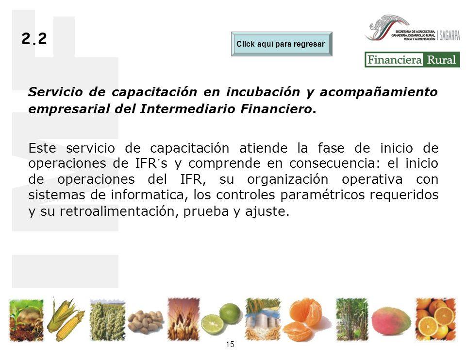 15 2.2 Servicio de capacitación en incubación y acompañamiento empresarial del Intermediario Financiero.