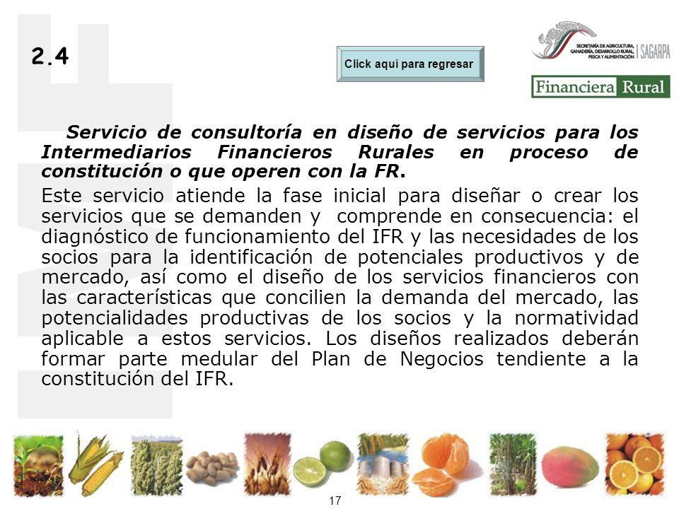 17 2.4 Servicio de consultoría en diseño de servicios para los Intermediarios Financieros Rurales en proceso de constitución o que operen con la FR.