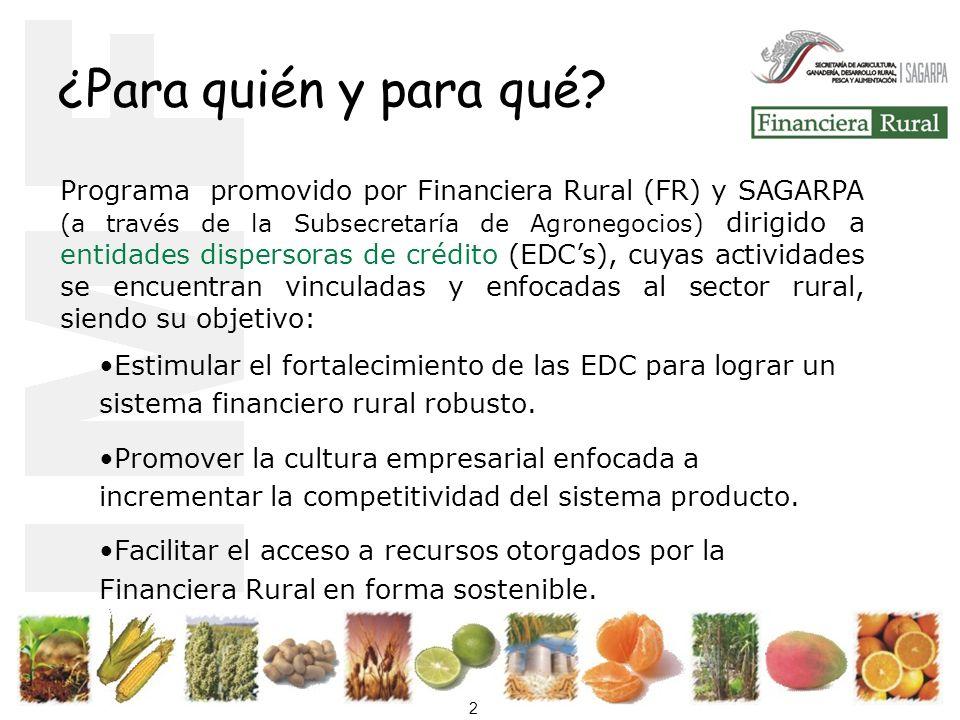 2 Estimular el fortalecimiento de las EDC para lograr un sistema financiero rural robusto.