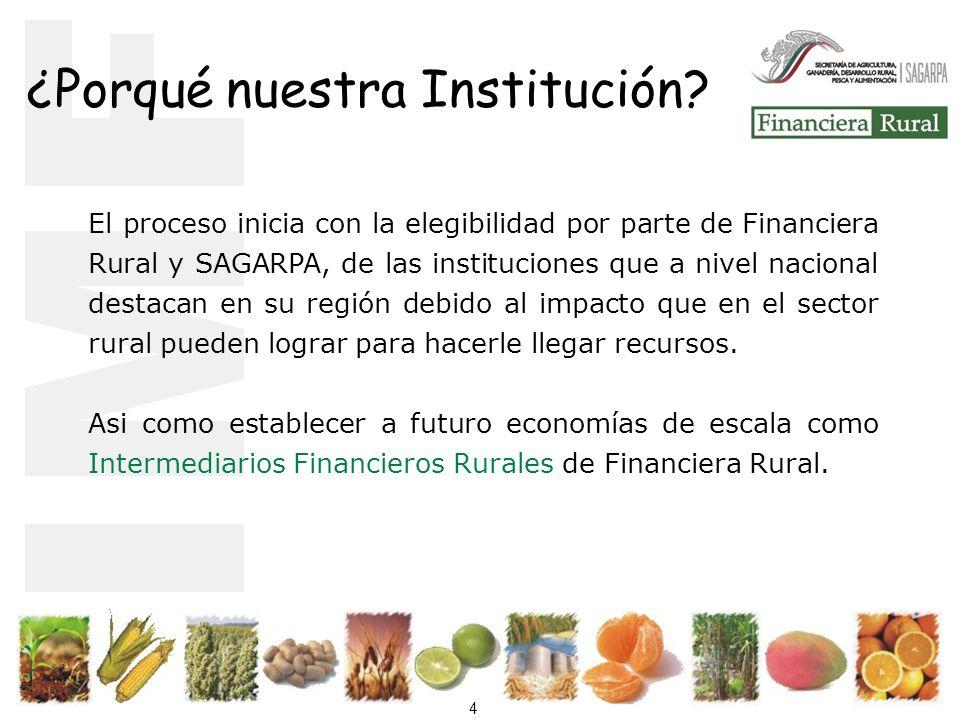 4 El proceso inicia con la elegibilidad por parte de Financiera Rural y SAGARPA, de las instituciones que a nivel nacional destacan en su región debido al impacto que en el sector rural pueden lograr para hacerle llegar recursos.