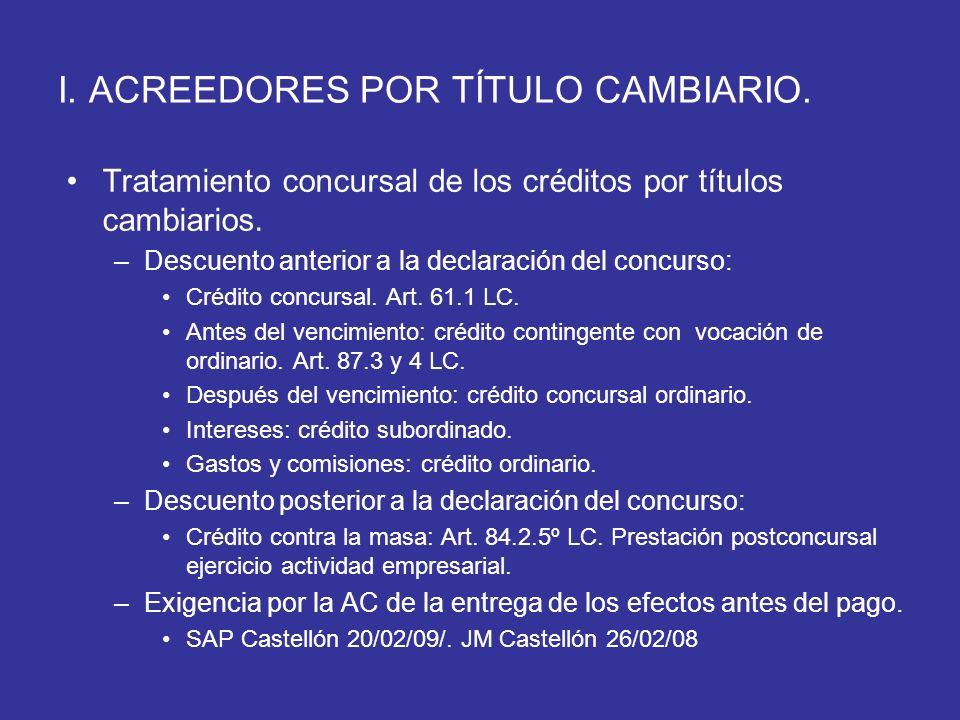 I. ACREEDORES POR TÍTULO CAMBIARIO. Tratamiento concursal de los créditos por títulos cambiarios. –Descuento anterior a la declaración del concurso: C