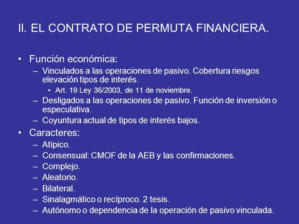 II. EL CONTRATO DE PERMUTA FINANCIERA. Función económica: –Vinculados a las operaciones de pasivo. Cobertura riesgos elevación tipos de interés. Art.