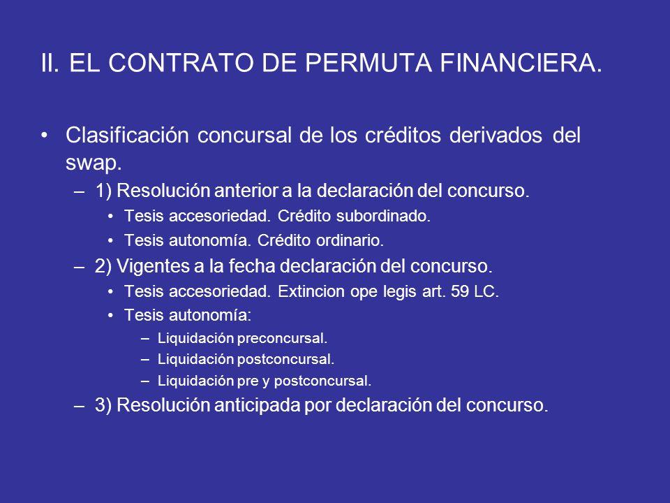 II. EL CONTRATO DE PERMUTA FINANCIERA. Clasificación concursal de los créditos derivados del swap. –1) Resolución anterior a la declaración del concur