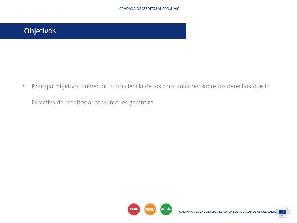 Principal objetivo: aumentar la conciencia de los consumidores sobre los derechos que la Directiva de créditos al consumo les garantiza - CAMPAÑA DE C