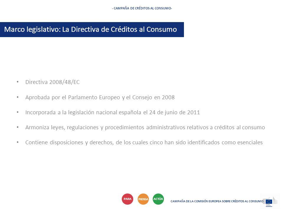 Directiva 2008/48/EC Aprobada por el Parlamento Europeo y el Consejo en 2008 Incorporada a la legislación nacional española el 24 de junio de 2011 Arm