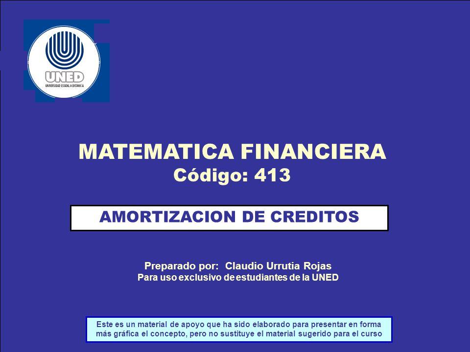 Preparado por: Claudio Urrutia Rojas AMORTIZACION DE CREDITOS Preparado por: Claudio Urrutia Rojas Para uso exclusivo de estudiantes de la UNED MATEMA