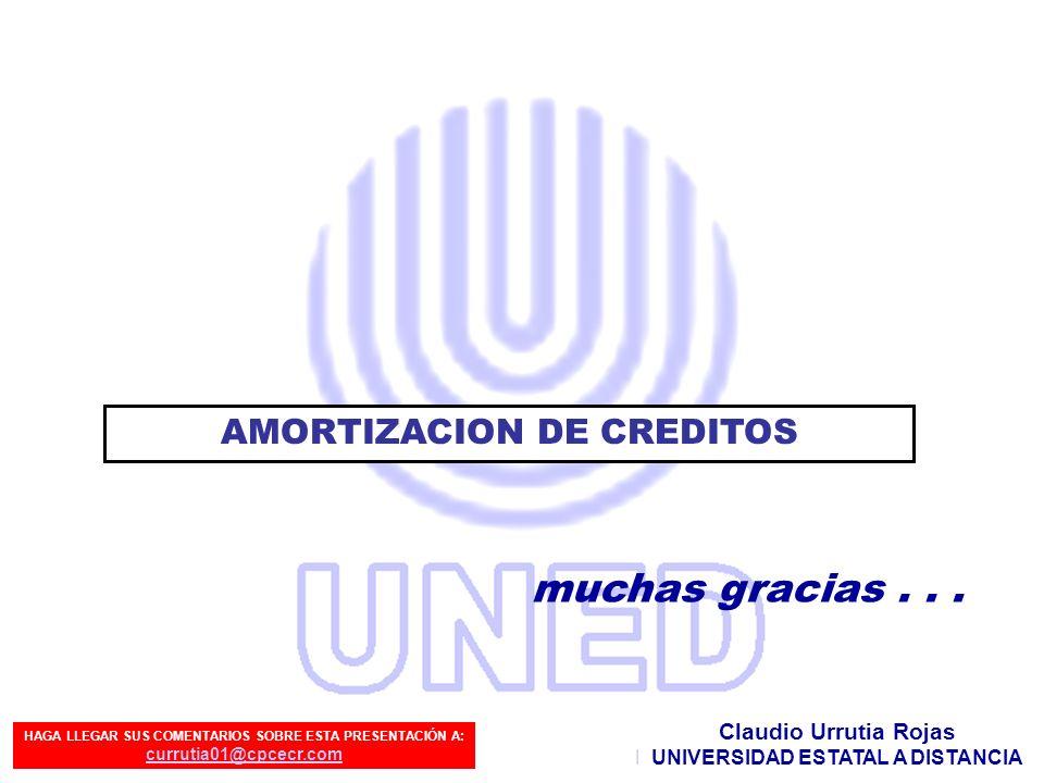 Preparado por: Claudio Urrutia Rojas muchas gracias... Claudio Urrutia Rojas UNIVERSIDAD ESTATAL A DISTANCIA AMORTIZACION DE CREDITOS HAGA LLEGAR SUS