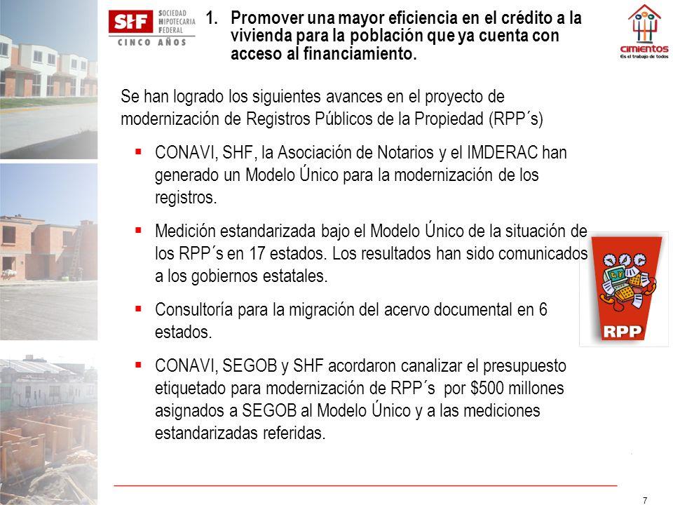 7 Se han logrado los siguientes avances en el proyecto de modernización de Registros Públicos de la Propiedad (RPP´s) CONAVI, SHF, la Asociación de No