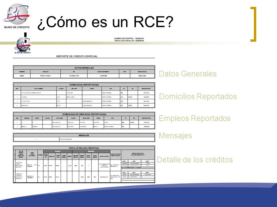 ¿Cómo es un RCE? Datos Generales Domicilios Reportados Empleos Reportados Detalle de los créditos Mensajes