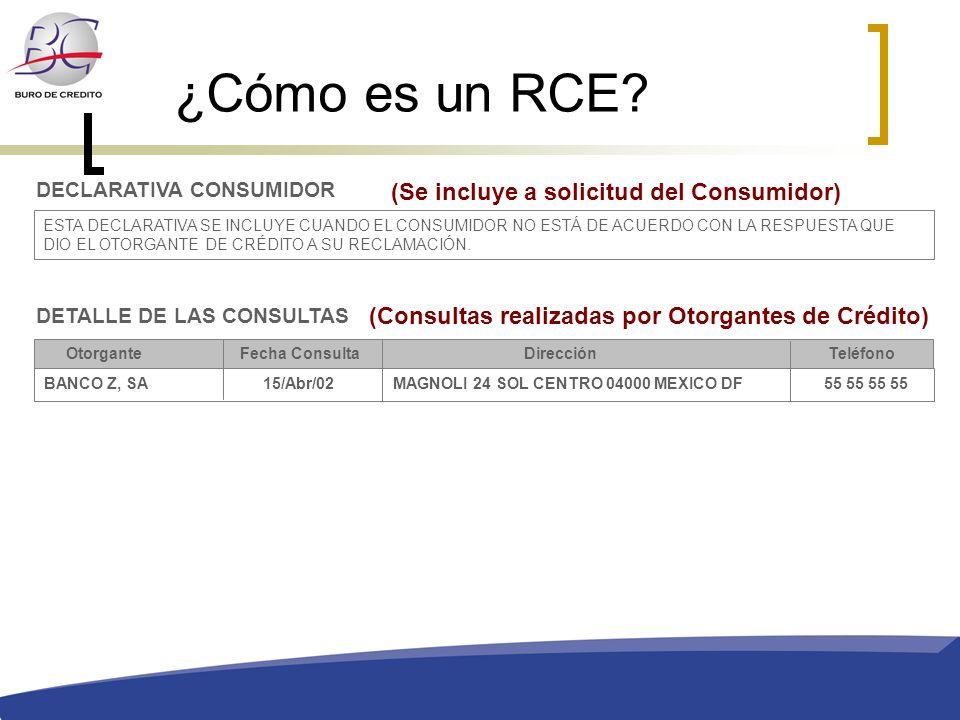 ¿Cómo es un RCE? DETALLE DE LAS CONSULTAS Otorgante Fecha ConsultaDirección Teléfono BANCO Z, SA 15/Abr/02 MAGNOLI 24 SOL CENTRO 04000 MEXICO DF 55 55