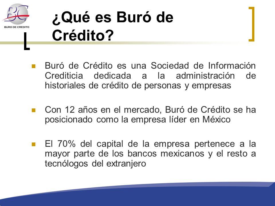 ¿Qué es Buró de Crédito? Buró de Crédito es una Sociedad de Información Crediticia dedicada a la administración de historiales de crédito de personas