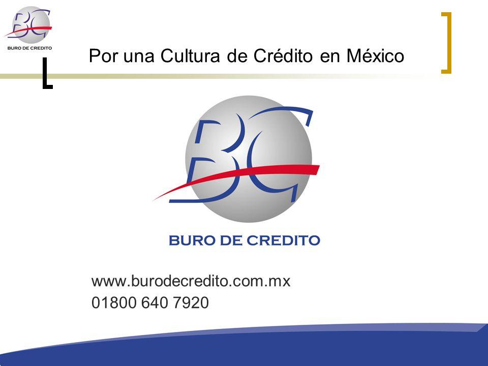 Por una Cultura de Crédito en México www.burodecredito.com.mx 01800 640 7920